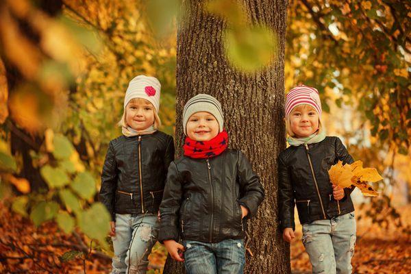 Drei Kinder stehen im Wald vor einem Baum