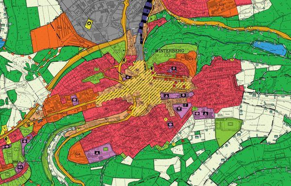 Flächennutzungsplan Kernstadt Winterberg mit verschiedenen Farben